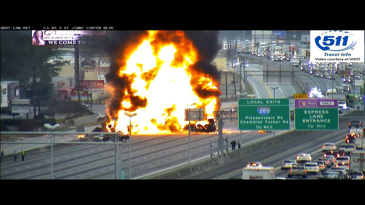 2 dead in fiery tractor-trailer crash that closed Atlanta highway