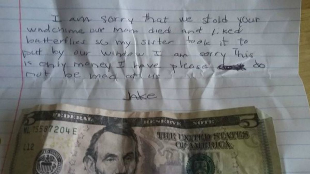 "Woman in Lakewood searches for ""Jake,"" who left sorry note for stolen wind chime, touching message"