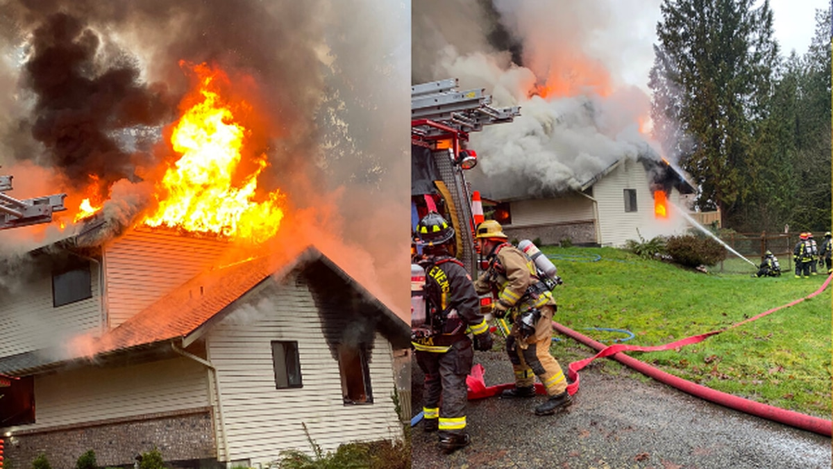 Crews face challenge putting out fire that gutted Snohomish home