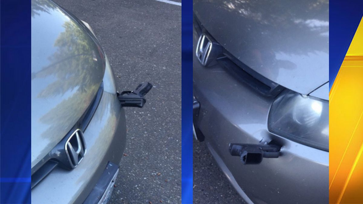 Police: Driver sees 'black object' in air on I-5, finds gun stuck in front of his car