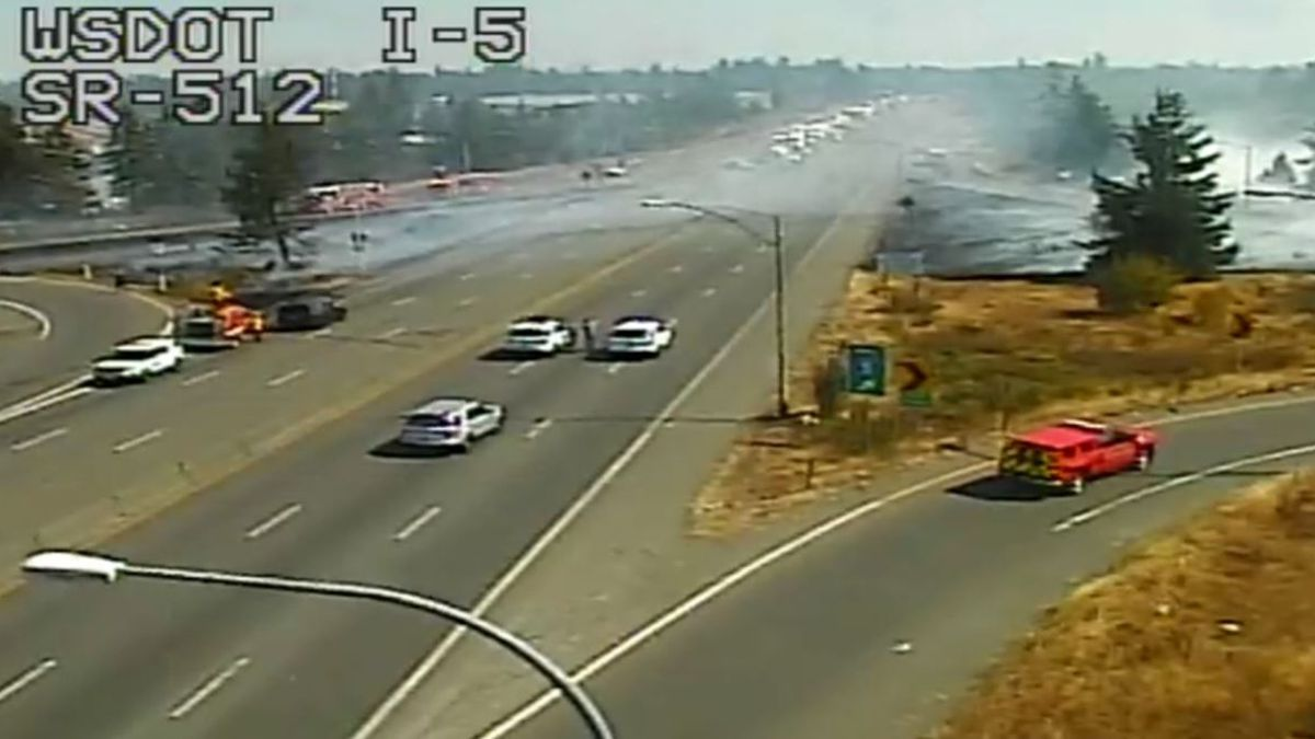 State Route 512 at I-5 reopens after brush fire