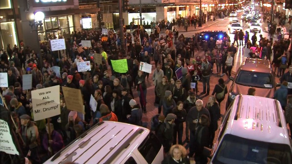 Massive rally at Westlake Park in response to Trump immigration order