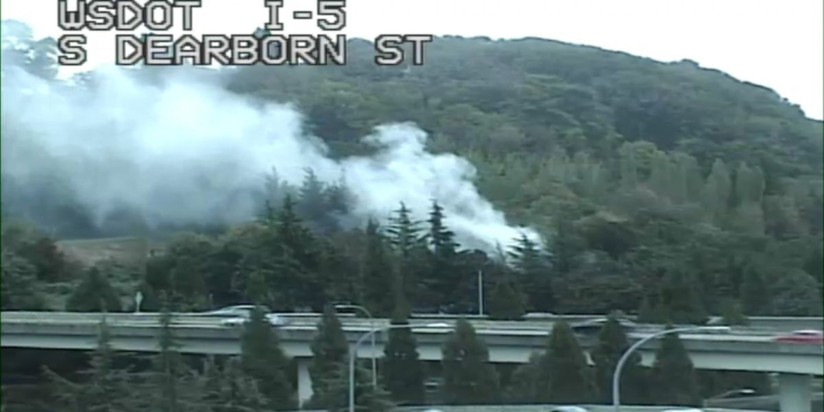 Fire breaks out at encampment near I-5