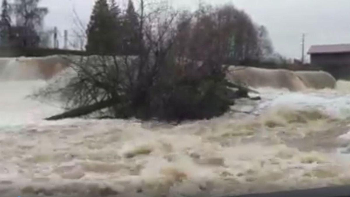 Waters rage at Tumwater Falls