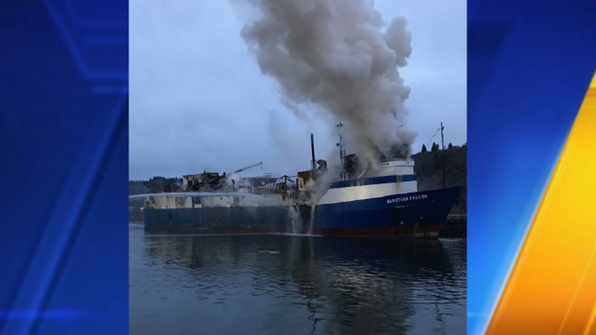 Interior of Tacoma commercial fishing boat still burning