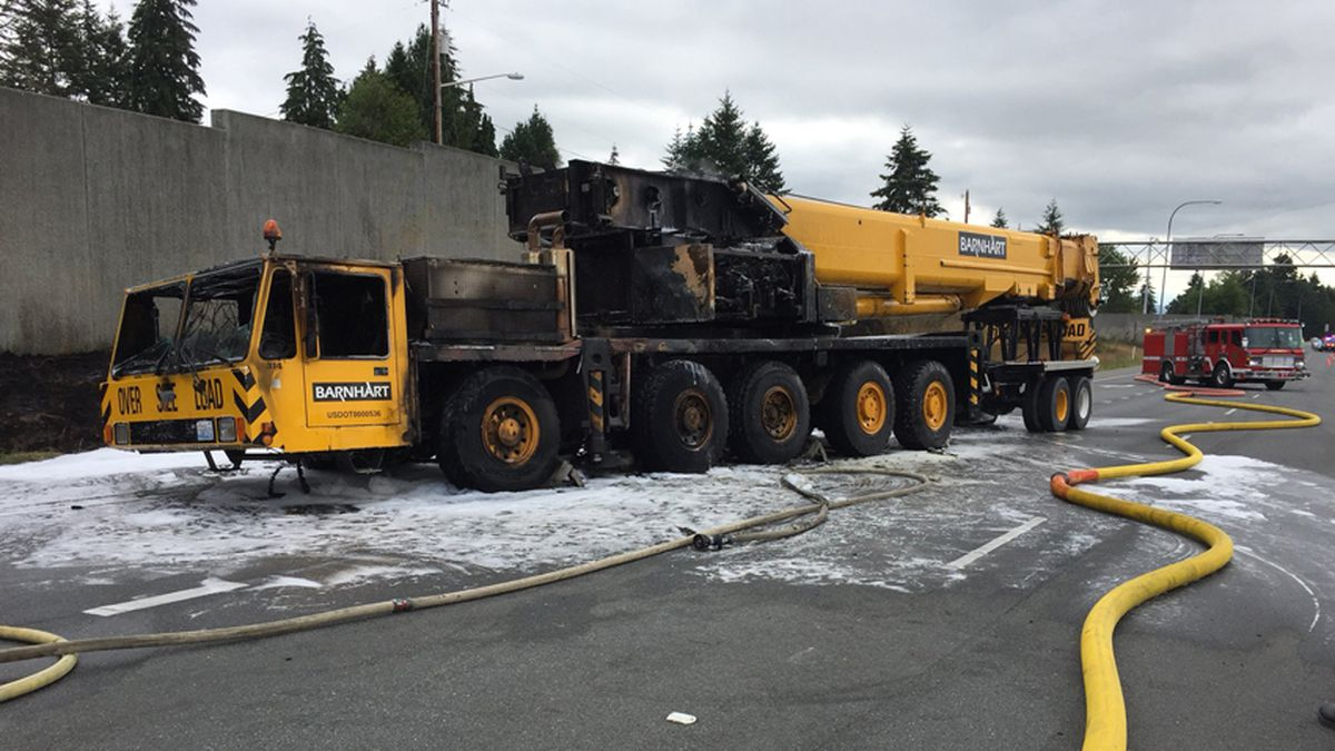Mobile crane fire jams traffic on Boeing freeway