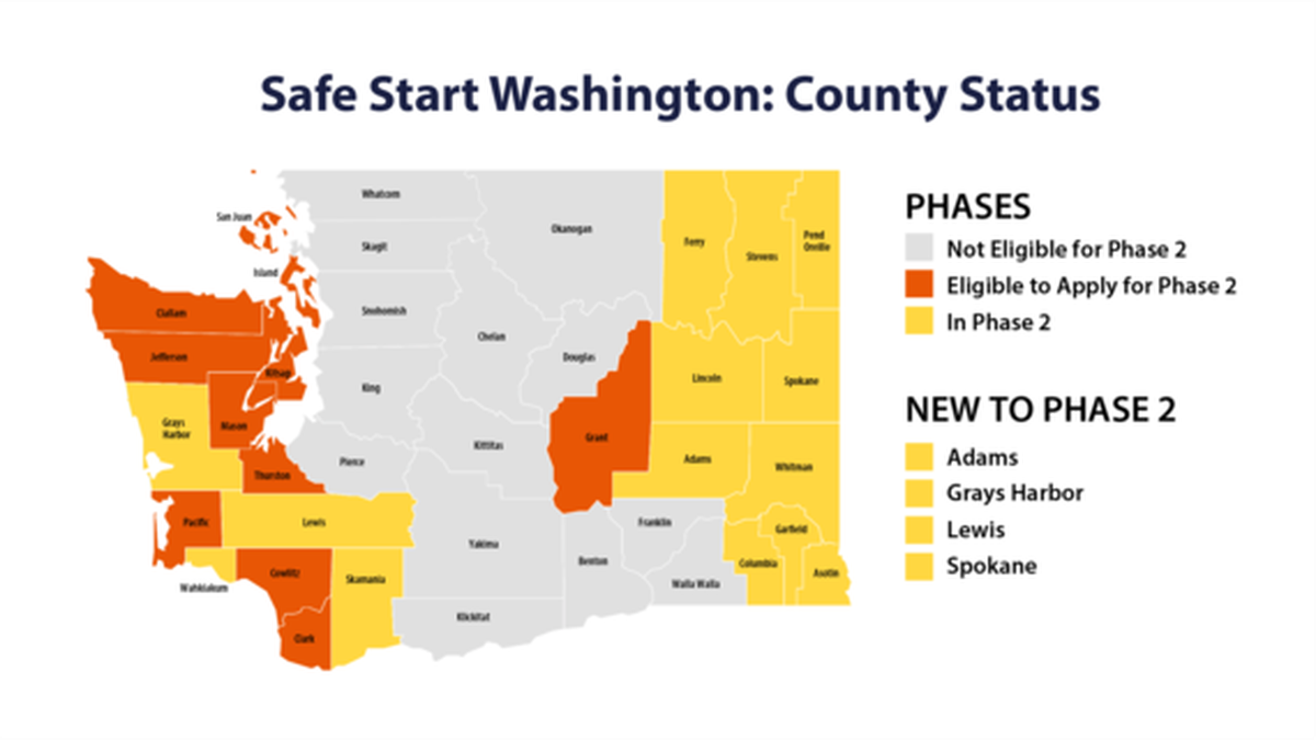 Four more counties approved to move into phase 2 of reopening