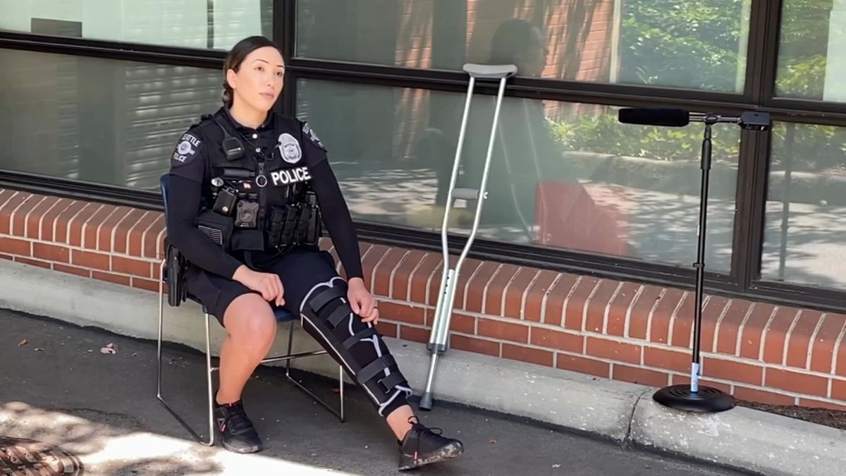 Officer hit with rock, injured during protest speaks out