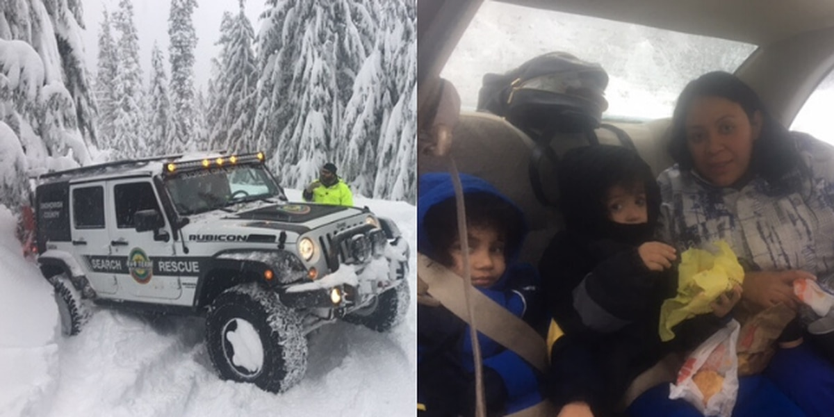 Family of four stranded in a car overnight in Snohomish County