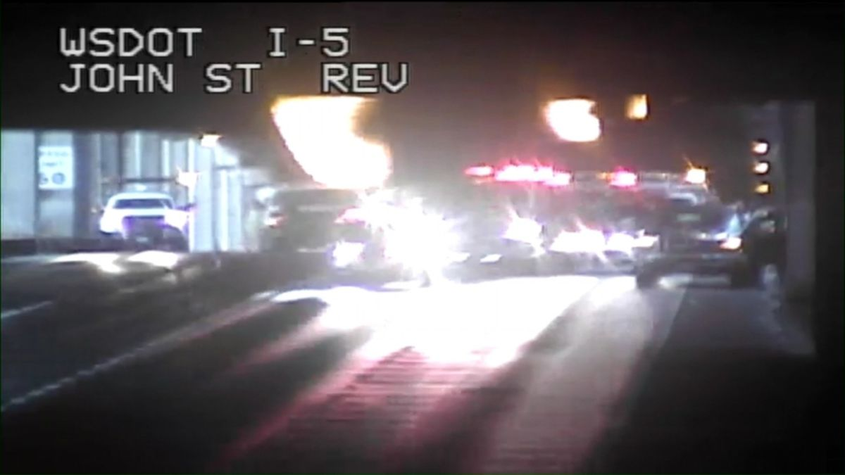 Patient extricated safely after two-car collision on I-5 express lane near downtown