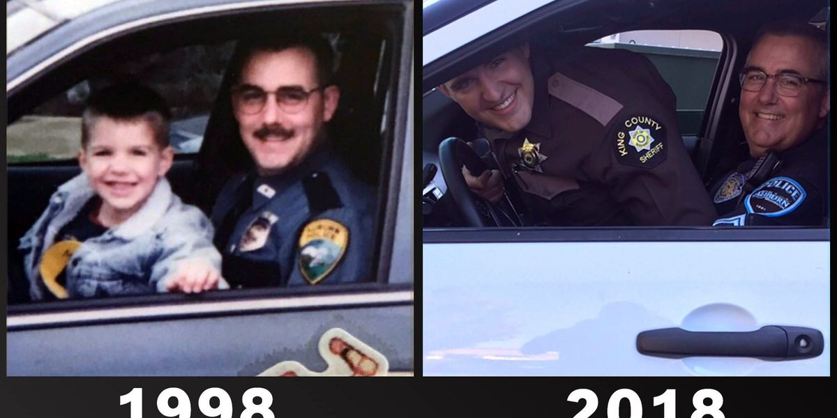 Father and son re-create police photo for Father's Day