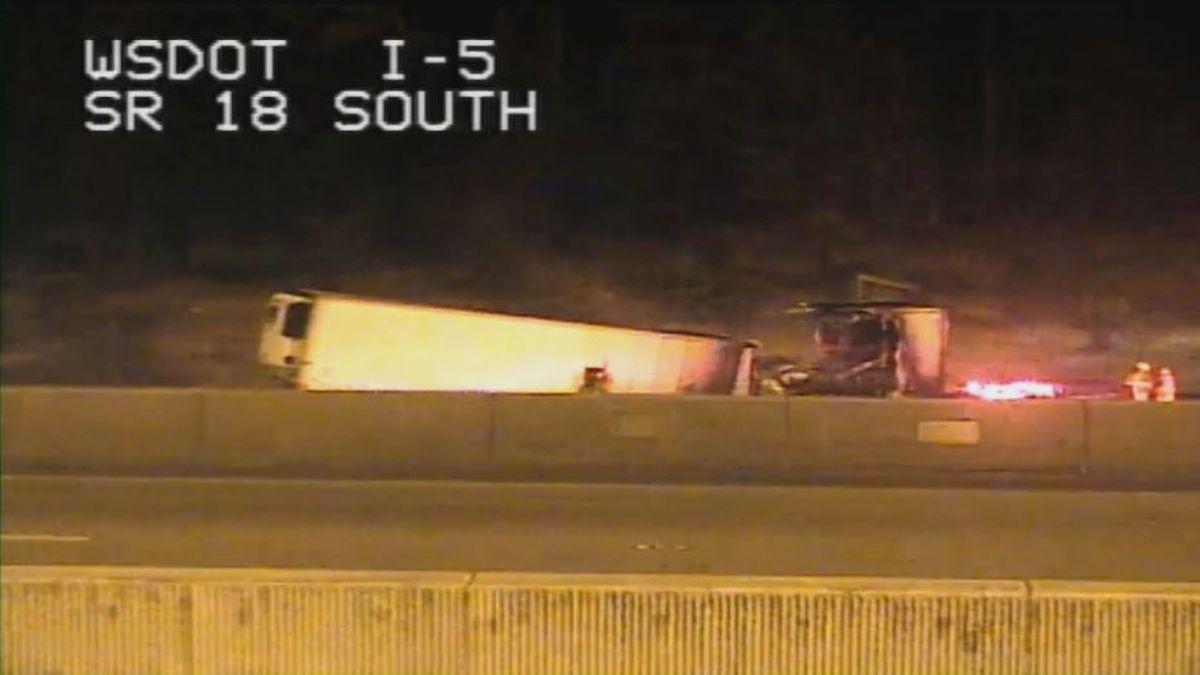 Semi fire slows traffic on NB I-5 at SR 18