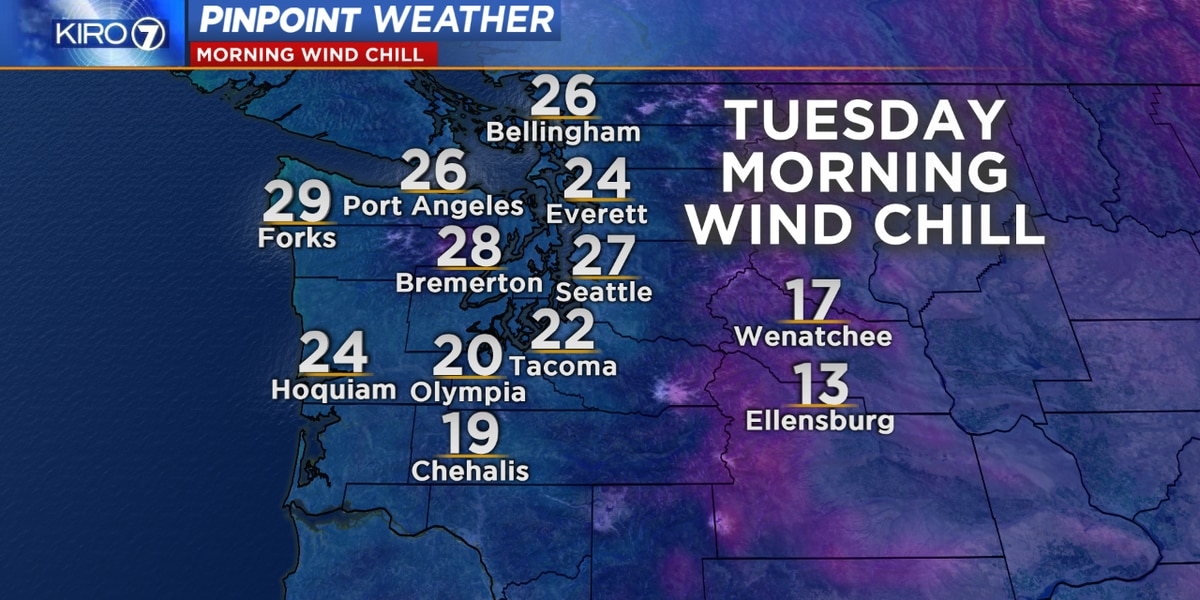 Wind chills in teens and 20s early Tuesday