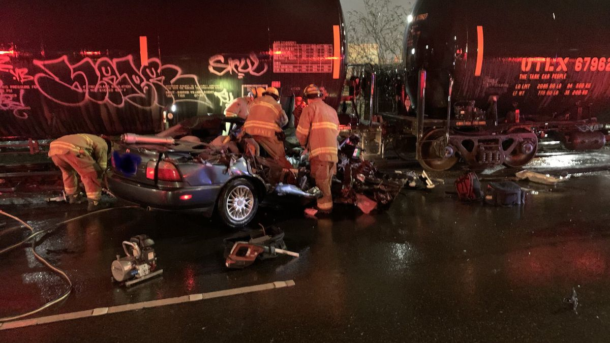 Driver extricated from car after crash involving train in Tacoma