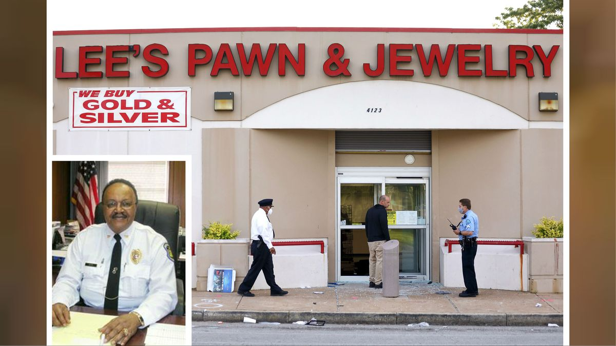 Police investigate the scene of a shooting at Lee's Pawn & Jewelry in St. Louis, Tuesday, June 2, 2020. Retired police Capt. David Dorn, inset, was found shot to death on the sidewalk in front of the shop, which was ransacked after peaceful protests over the death of George Floyd turned violent.