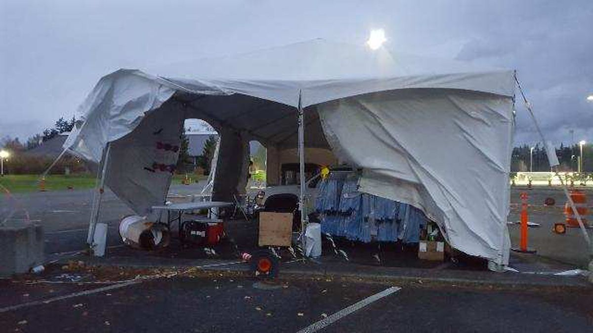 Wind damage, safety concerns cause Skagit County to move its drive-thru COVID testing site