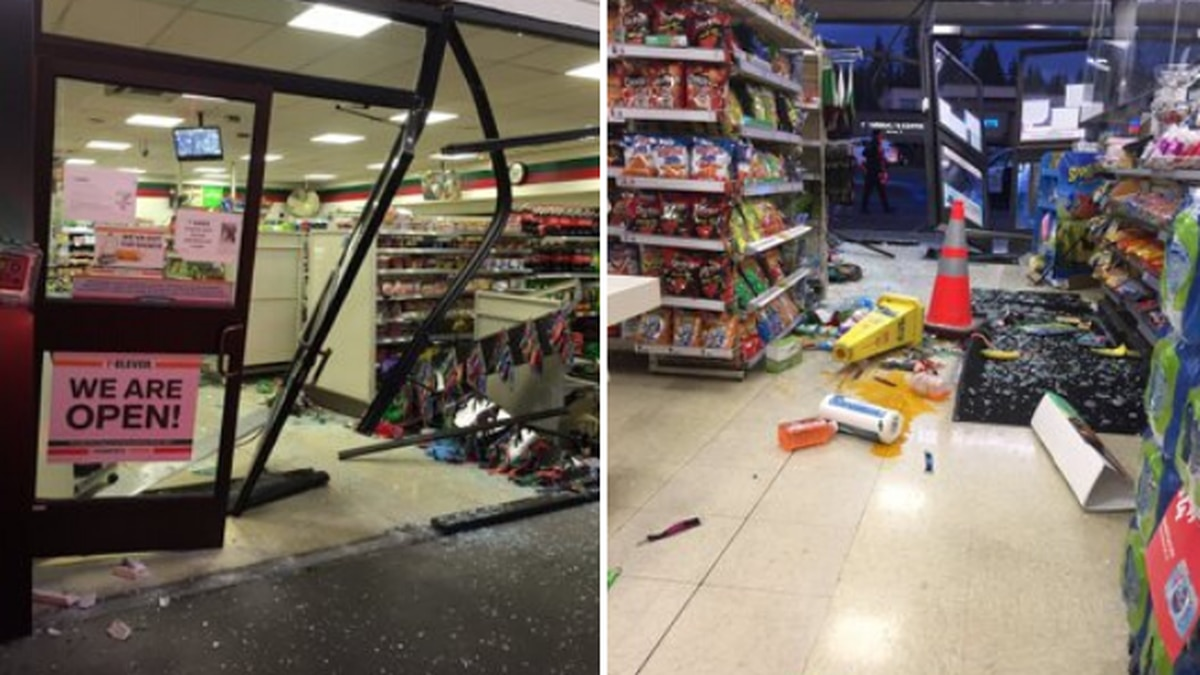 Driver crashes through front of convenience store, flees scene