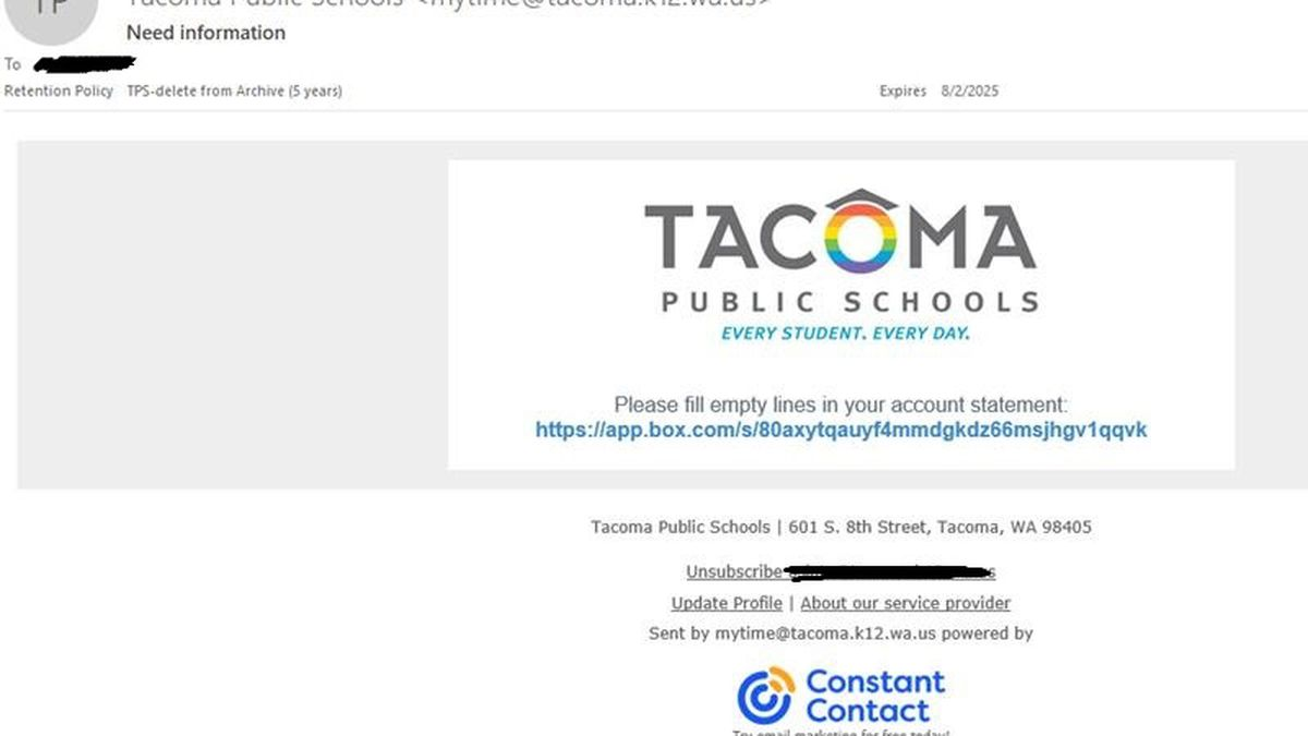 Tacoma Public Schools warns about phishing emails sent to families